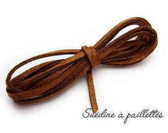 1 m cord sequins 3mm x 1.5 mm suede [Brown]