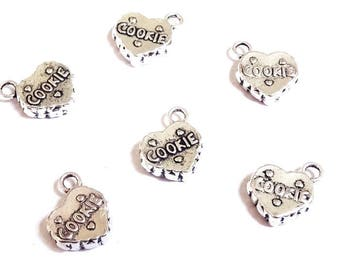 5 cookie 15x13mm bicuit Christmas chocolate cake - A21 - silver heart charms