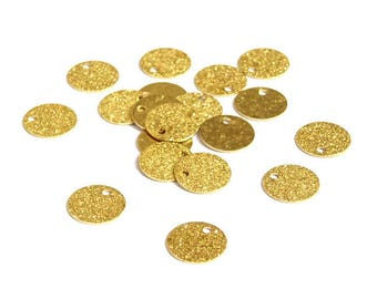 20 round sequins medallions engraved gilded copper plated 8mm frosted charm * MD5-09 *.