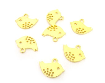 10 charms 16x13mm zamak gold bird / BD1 75