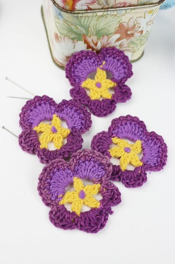 Häkeln Sie Stiefmütterchen 4pk gehäkelte Blume häkeln | Etsy