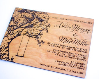 Tree swing invite etsy tree with swing wooden wedding invitation real wood laser engraved oak tree natural wood save the date reheart Choice Image