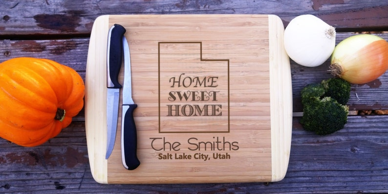 Utah State Laser Engraved Home Sweet Home Fathers Day Gift Two Tone Bamboo Custom Closing gift Large Cutting board