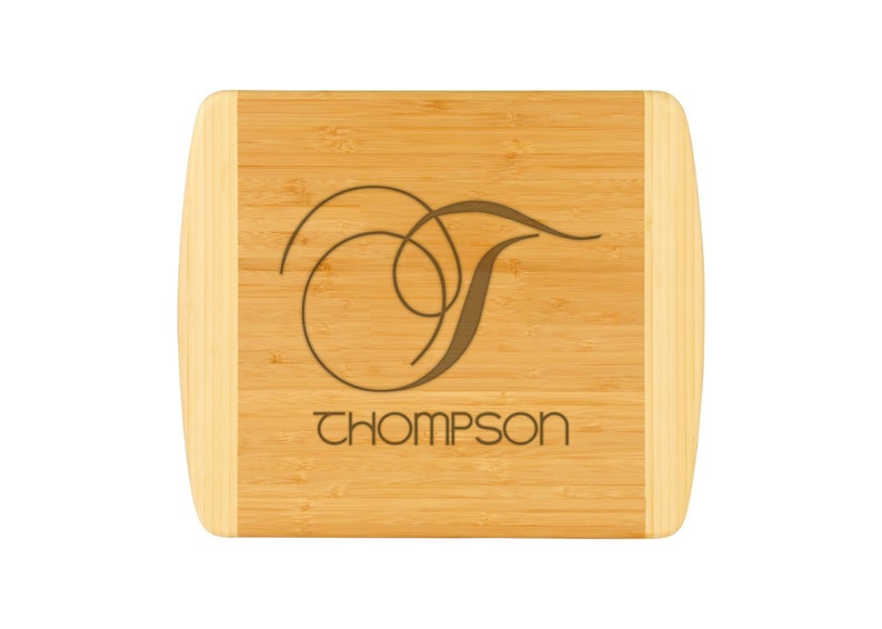 8c95d2b80dd0a Large Cutting Board Family Monogram Two Tone Bamboo Cheese