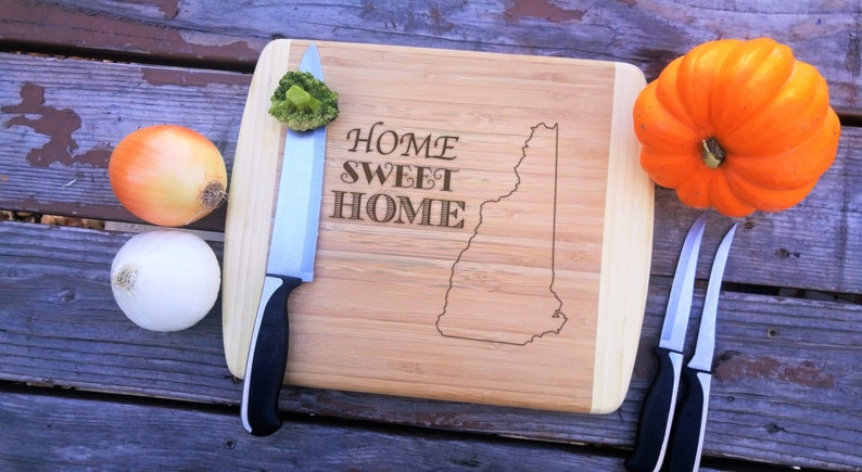 Closing Gift New Hampshire State Home Sweet Home Family Name Fathers Day Gift Large Cutting board Laser Engraved Two Tone Bamboo