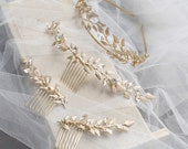 Light Gold Leaf Design Wedding Hair Accessories, Light Gold Bridal Hairpieces, Wedding Hair Comb, Bridal Comb Bridal Headband Hairpins