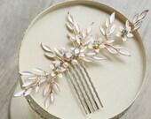 Light Gold Leaf Rhinestone Bridal Hairpin, Wedding Accessories, Pearl Bridal Hair Pins, Wedding Hair Accessories, Bridal Comb, Bridesmaid