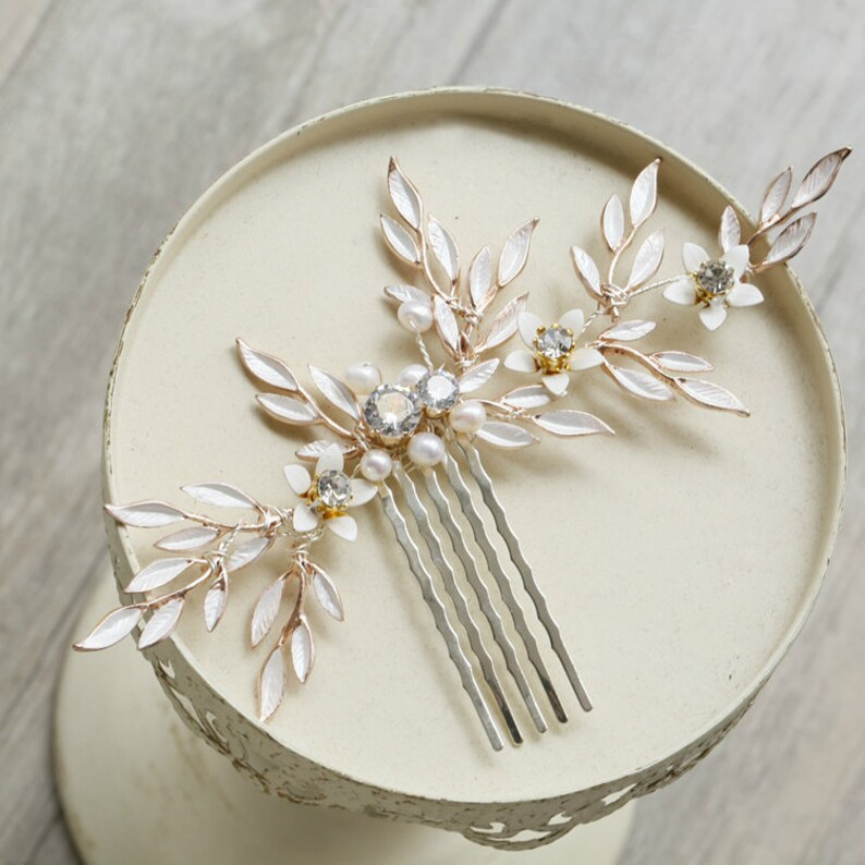 e4adb1aa7ff0 Light Gold Leaf Rhinestone Bridal Hairpin Wedding