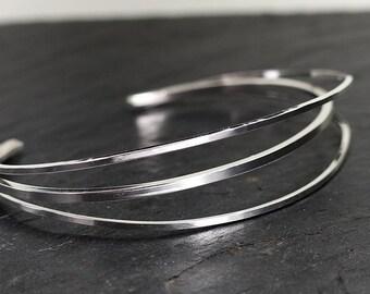 "bangle ""Imbroglio"", sterling silver, hand made"
