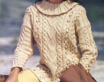 Beige woman sweater with large handmade collar,Pull long handmade wool to order