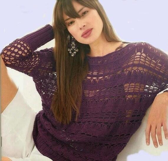 Lila Pullover Damen Sommer Pullover Pullover Häkeln Waschluken Etsy