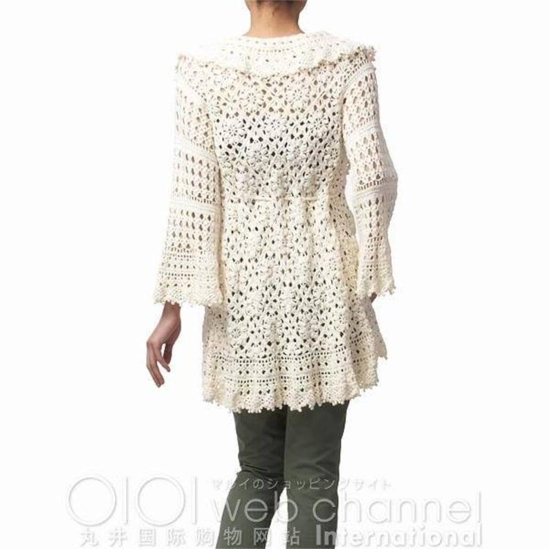 White knit crochet Cardigan white cotton Cardigan one hookon order
