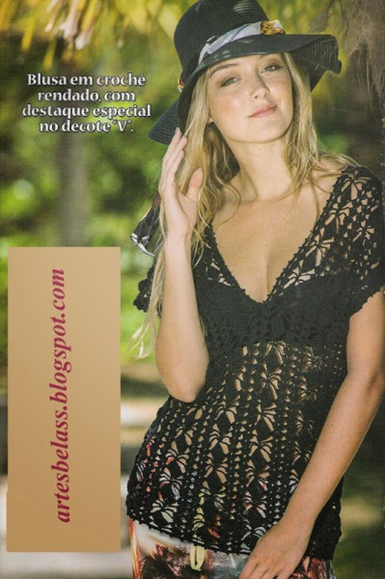 Women/'s black blouse one crochet boho style blouseon order