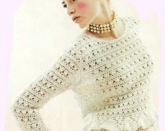 Dames chandail blanc crochet mohair / custom