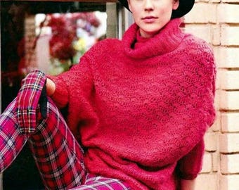 Sweater - poncho crochet mohair red color / custom