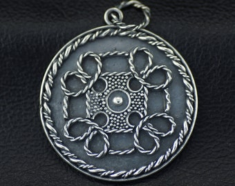 .999 pure Viking Style Granulated Fine Silver /& #8 Mine Turquoise Pendant