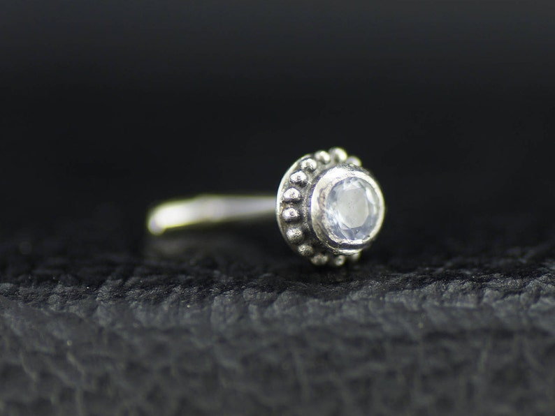 Granulated Argentium Silver Nose Stud with 2mm White Topaz
