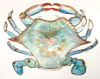 Blue Crab Original Watercolor Painting