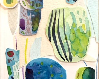Abstract Green Watercolor Collage Giclee Print
