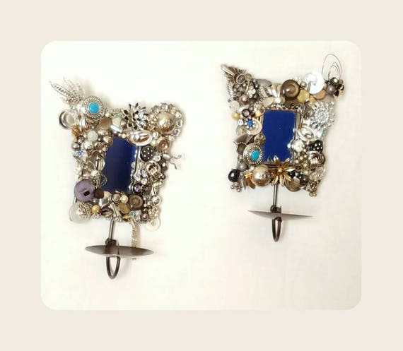 jeweled wall sconces silver candle holders mixed media etsy. Black Bedroom Furniture Sets. Home Design Ideas