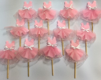 12 pieces Ballerina tutus, cupcake toppers, or party decoration