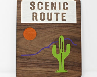 Scenic Route Hand-painted Walnut Wood Wall Art | Gift for Wanders and Adventurers