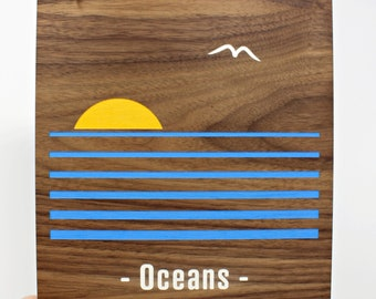Oceans - I love that @#%& Hand-painted Walnut Wood Nature Inspired Wall Art | Ocean Lover Gifts