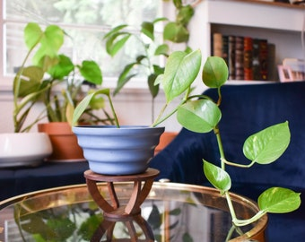 Indoor Wood Plant Stand | Walnut Wood Plant Stand | Modern Plant Stand | Plant Holder | Apartment Decor