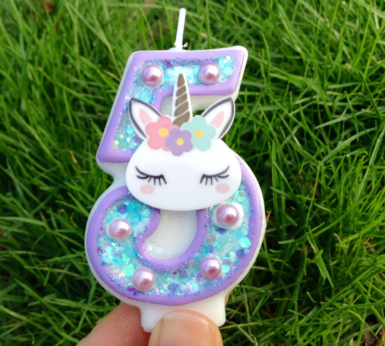 Unicorn Number Birthday Candles