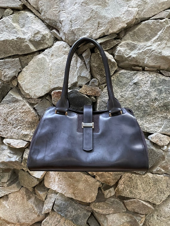 Minimalist Leather And Suede Handbag Made In Italy