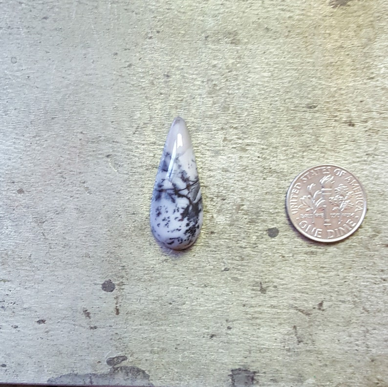 Dendritic Agate dendritic 30x12mm dendrites large cab long cabochon large pendant stone large teardrop stone talon shaped agate cab