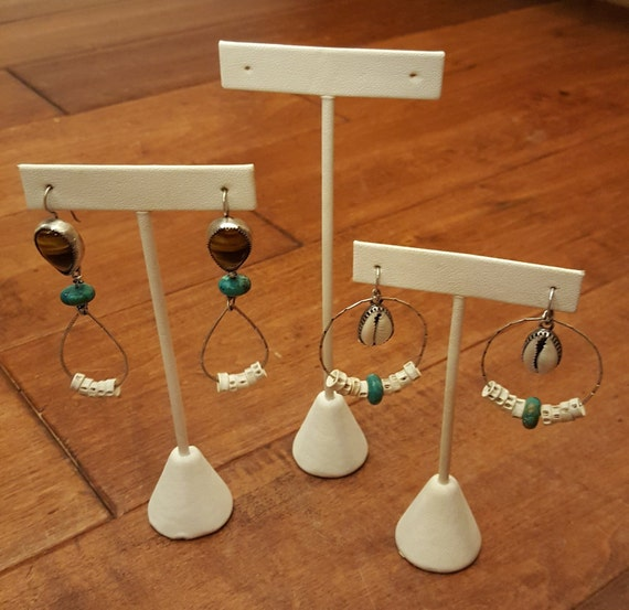 earring tree 6.5 in single earring display White Leatherette Earring Tree weighted base t shaped earring display stand earring stand