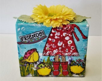 Collage Art Block - Art Block - Mixed Media Collage Art Block - Girlfriend Gift - Art Gift - Mixed Media Collage on Wood - Ready to Ship