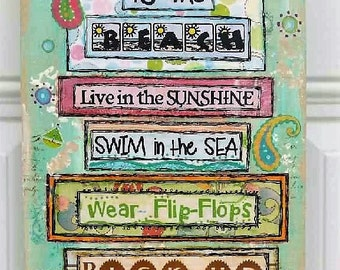 Mixed Media - Mixed Media Art - Mixed Media Collage Art - Mixed Media Canvas - Mixed Media Wall Art - Mixed Media Collage - Beach Decor