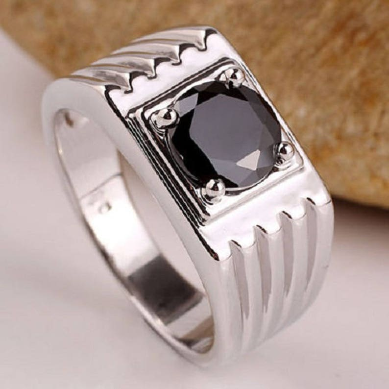 925 Sterling Silver Natural Gem Stone Black Onyx Men/'s Ring Jewelry Us Size 8 9 10 11