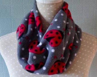 White and red snood scarf ladybird print cowl ladybug fleece loop scarf