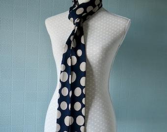 Navy skinny scarf paisley mod sixties thin biker tie blue bow long thin unisex