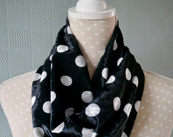 Black polka dot snood spotted loop cowl scarf black white cotton jersey
