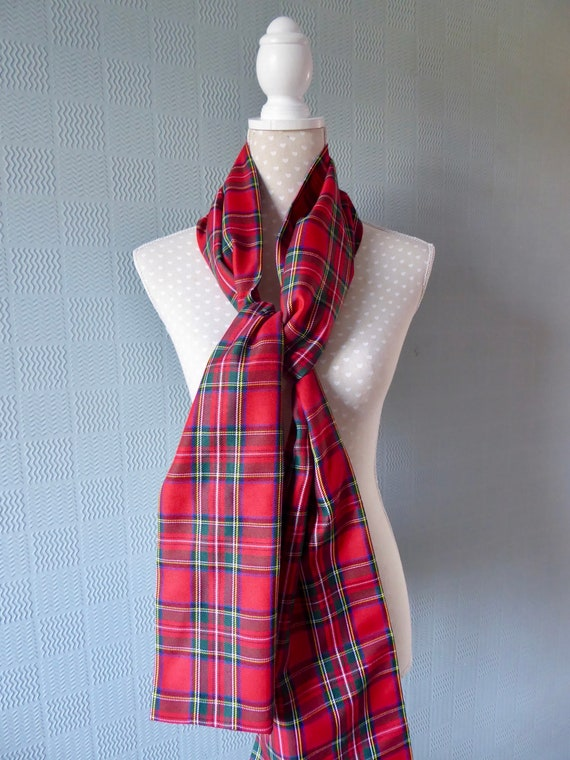 Red tartan pashmina stole unisex sash Royal Stewart Tartan red plaid shawl