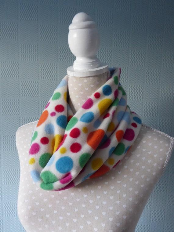 grey spotted cowl Polka dot snood spotted neck warmer polka dot loop scarf