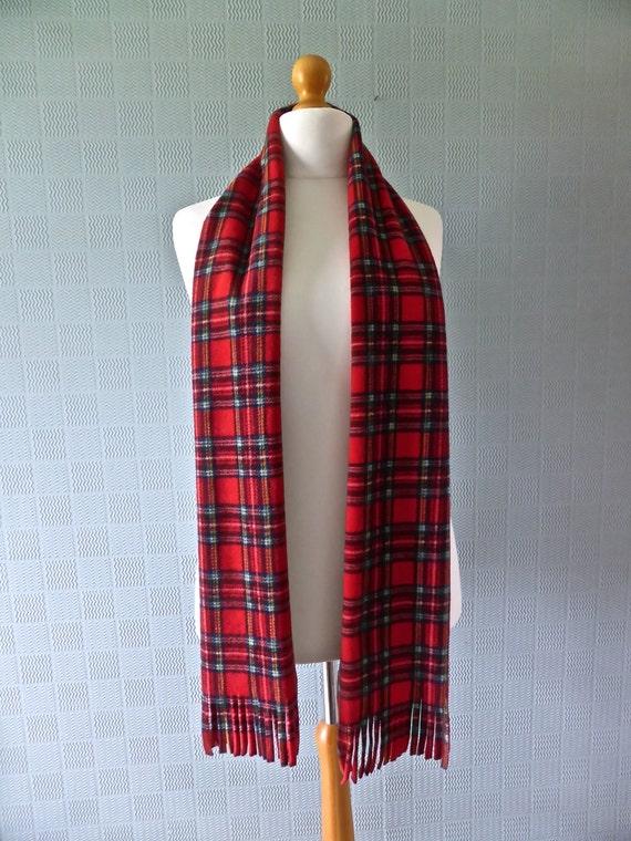 red tartan scarf plaid headband tie Royal Stewart tartan traditional Scottish