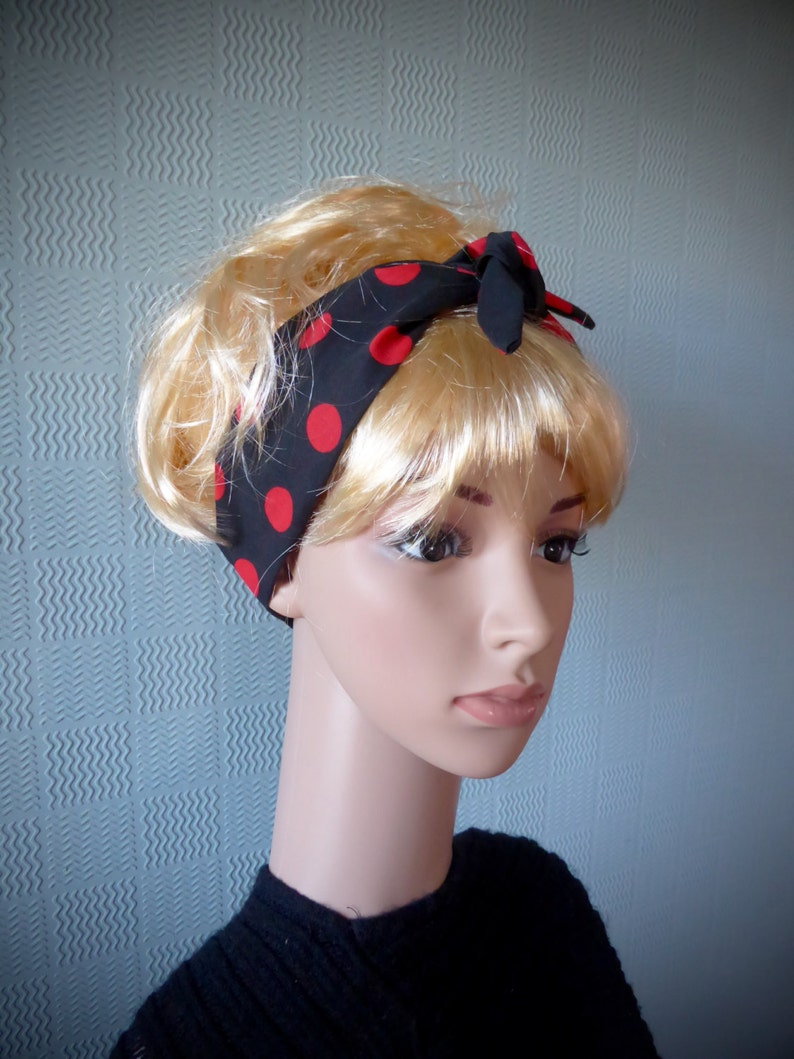 Black and red striped hair scarf 40/'s//50/'s headband cotton retro self tie up
