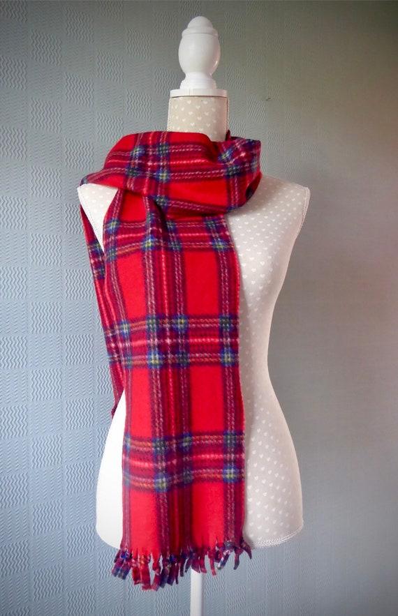 Red tartan scarf traditional Scottish Royal Stewart tartan soft fleece unisex
