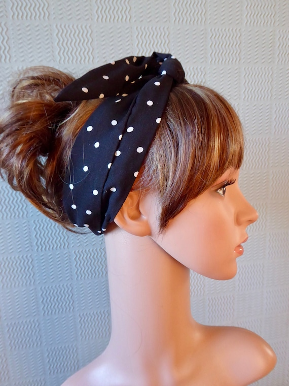 fifties scarf Black and white spotted hair scarf retro 50/'s style headband