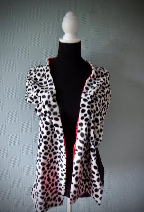 Cruella De Vil Shawl Cruella de ville stole extra long Dalmatian print wrap
