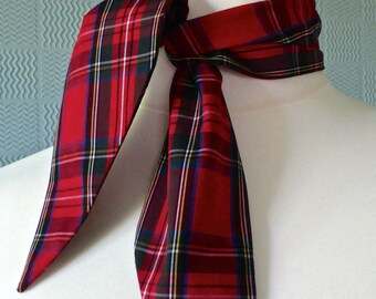 Red tartan rockabilly scarf, red plaid scarf, vintage 50's style tartsn scarf, rock and roll plaid scarf