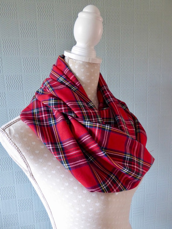 Red tartan snood plaid cowl Royal Stewart Tartan loop scarf fleece accessories