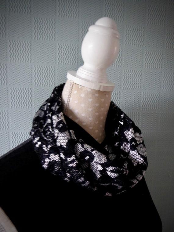 black chiffon cowl chiffon loop scarf Black flowered snood