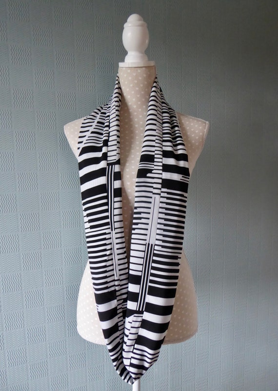 abstract music look double loop striped scarf black and white infinity scarf