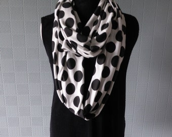 Black and white polka dot infinity scarf, spotted loop scarf, cotton jersey infinity scarf